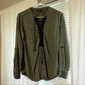 Express Army Green and Black Lace-up Top